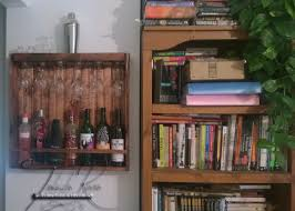 red oak stained wine bottle glass storage rack
