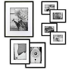 black picture frames wall. Gallery Perfect 7 Piece Black Photo Frame Wall Kit. Includes: Frames, Hanging Picture Frames R