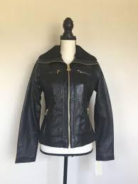 nwt michael kors 100 leather size s women s moto jacket faux fur collar
