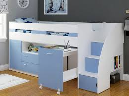 Light Blue Supreme Mid Sleeper Cabin Bed With Steps, Storage And Desk