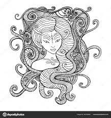 Surrealistische Vrouw Medicijnvrouw Kleurplaat Pagina Stockvector