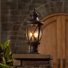 Outdoor Deck Lighting Lowes Shop Allen Roth Castine 19 5 In H Rubbed Bronze Post Light