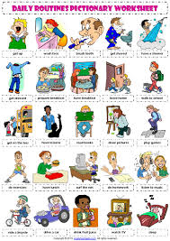 present simple daily routines russian and english flash cards at english vocabulary daily routines