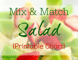 Salad Chart Easy Mix Match Salad Printable Chart Happy Homeschool