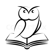 stock vector of cartoon of owl and book symbol of wisdom isolated on white