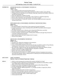 Mechanical Engineering Design Technologist Jobs Mechanical Engineering Technician Resume Samples Velvet Jobs