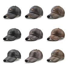 new arrival luxury leather baseball cap men high quality leisure caps pu leather trucker hat retro dad hat print style popular strapback hat caps for men