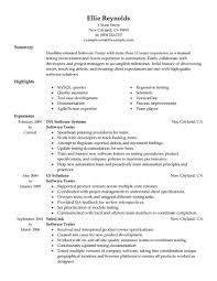 Testing Resume Resume Work Template