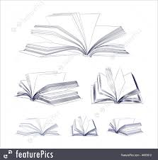 open book sketch set royalty free stock ilration