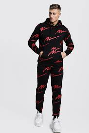 Tracksuits are versatile, and we rate that. All Over Red Man Print Hooded Tracksuit Boohoo Uk