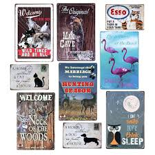 vintage wall decor wolf man cave dog cat metal signs deer tiger owl animals plaque for art ideas bedroom