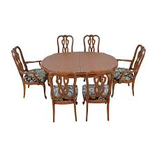 wood extendable dining set with six fort crafted upholstered chairs dining sets