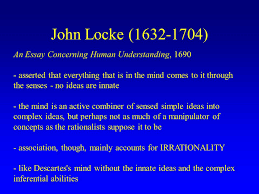 rene descartes ppt video online  john locke 1632 1704 an essay concerning human understanding 1690