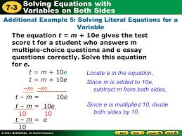 additional example 5 solving literal equations for a variable