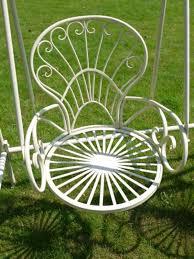 two chair metal garden swing seat cream
