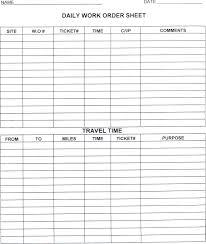 Daily Work Order Sheet Maintenance Department St John The