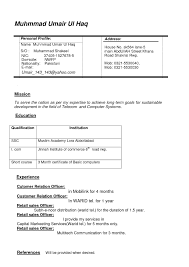 Curriculum Vitae Resume Template For Sales Position English