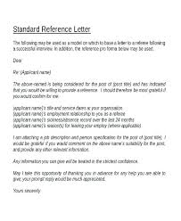 Sample Character Reference Letter Template Job Referee Or
