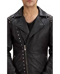 black studded double rider men s leather jacket