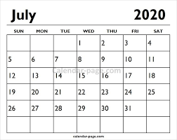 Calendar Template Monthly 2020 2020 July Printable Calendar Page Printable Calendar Pages