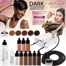 belloccio professional beauty airbrush cosmetic makeup system with 5 dark shades of foundation in 1 4 oz bottles
