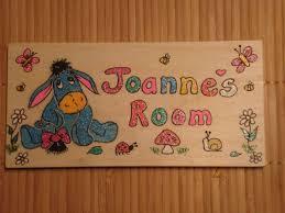 eeyore handmade wooden personalised childrens bedroom door sign plaque unique one of a kind handmade to order