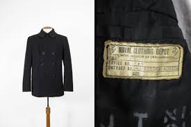 Usn Pea Coat Size Chart Vintage Wwii Us Navy Pea Coat Black Wool Double Breasted 8 Button Midnight Blue Size 38