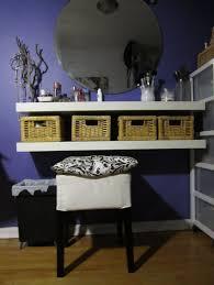 diy makeup vanity table. Furniture: Chic White 2 Graded Open Wall Mounted Diy Makeup Vanity Table Featuring Square Storage