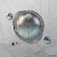 large steel sphere with a glossy color reflections in the iron lattice and small glass spheres on a light background of crumpled paper with shadows added