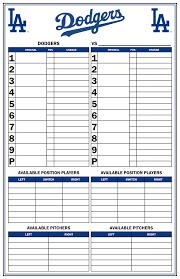 Baseball Lineup And Position Chart Custom Dugout Charts