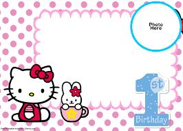 Printable Hello Kitty Invitations Personalized Free Hello Kitty 1st Birthday Invitation Template Hello