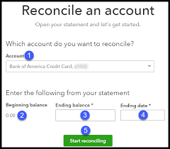 select the credit card account to reconcile in quickbooks