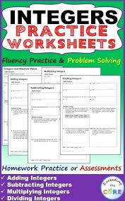 free integer worksheets printable math negative numbers grade 555364