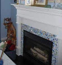 blue mosaic tiles fireplace surrounds