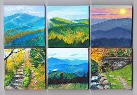 scenes from the smokies acrylic paintings on mini canvases