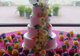 4 Tier Light Pink Round Wedding Cake With Flowers And Butterflies