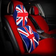 uk flag auto car seat cushion lumbar memory foam pillow back waist support red