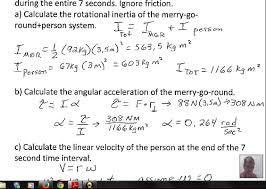 example rotational inertia torque angular acceleration velocity