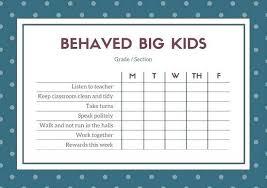 Kids Behavior Chart Template Monthly Behavior Chart Template For Teachers Iamfree Club