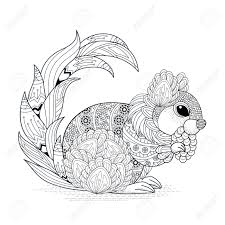 Small Picture Lovely Squirrel Coloring Page In Exquisite Style Royalty Free