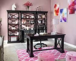 pink home office. unique pink large transitional freestanding desk ceramic floor home studio photo in las  vegas with pink walls and pink home office