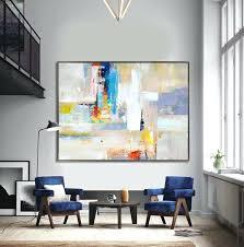 handmade extra large contemporary painting huge abstract canvas art original artwork yellow yellow grey wall art