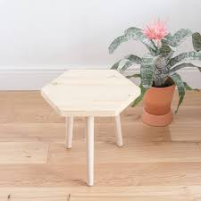 wooden hexagon table side table with round tapered legs