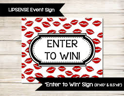 raffle sign red lips smooch sign poster display enter to win door prize