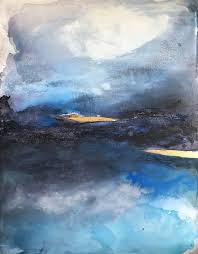 saatchi art artist henrieta angel painting abstract blue painting impressionistic landscape with gold