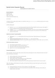 Resume For Quality Control Inspector Sample Resume For Quality