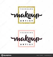 makeup artist fashion logo vector lettering ilration
