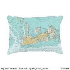 Key West Nautical Chart And Coordinates Pillow Zazzle Com