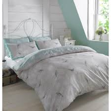 dreamscene luxurious vintage birds duvet set with pillowcase polyester cotton mint light blue king vintbirdlb03 on on
