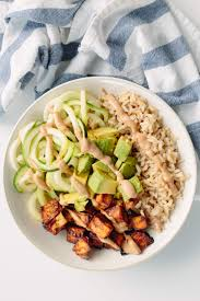 brown rice in a bowl. Wonderful Bowl BBQ Baked Tofu And Brown Rice Bowls With Zucchini Noodles Throughout In A Bowl A